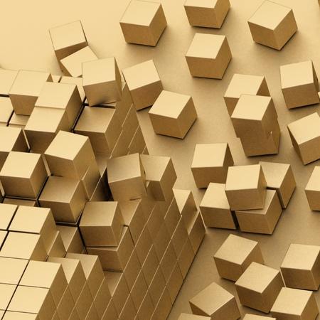 assembling: damaged assembling of gold blocks