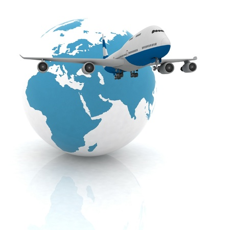 airliner with a globe in the white background Stock Photo - 11985123