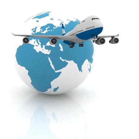 avión con un globo en el fondo blanco Foto de archivo