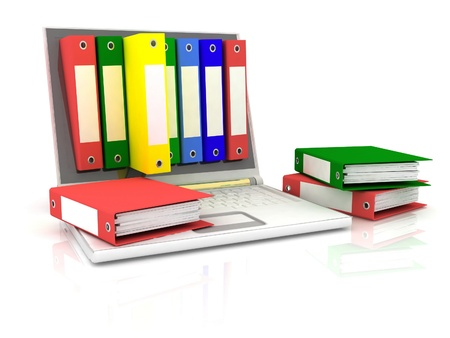 abstract image of computer and folders for documents photo