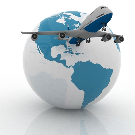 airliner with a globe in the white background Stock Photo - 11985323