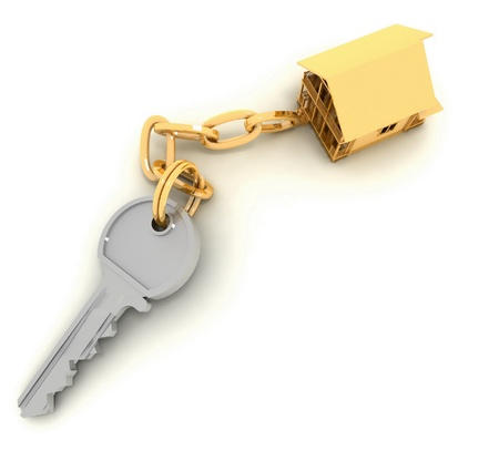 to let: chiave di casa su sfondo bianco Archivio Fotografico