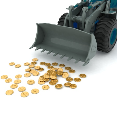 bulldozer raked pile of coins over white background photo