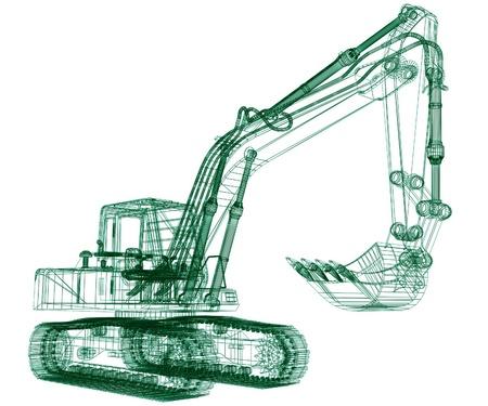 3d model excavator Stock Photo - 11985693