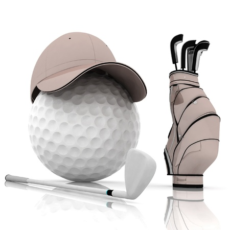 steel balls: belonging for playing golf on a white background