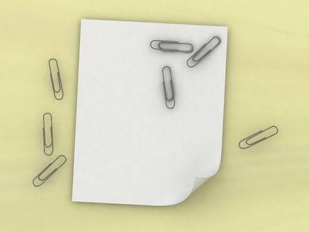 Sheet of a paper and writing paper clips photo