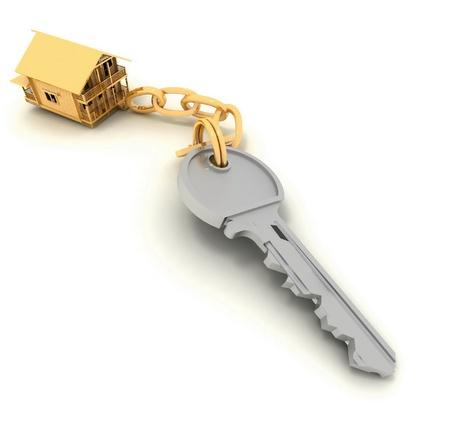 house key on the white background photo