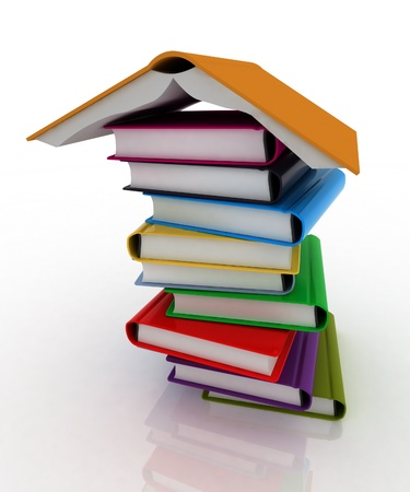 3d book pile and inverted open book photo