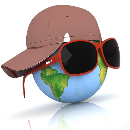 Globe is in dark eyeglasses Stock Photo - 11985332