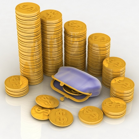 3d illustration of a purse and money illustration