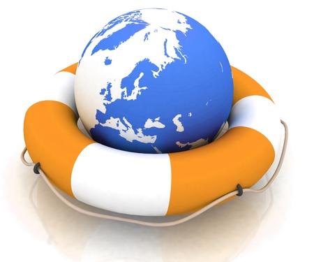 katastrophe: The Globe and Rettungsring Ring Lizenzfreie Bilder