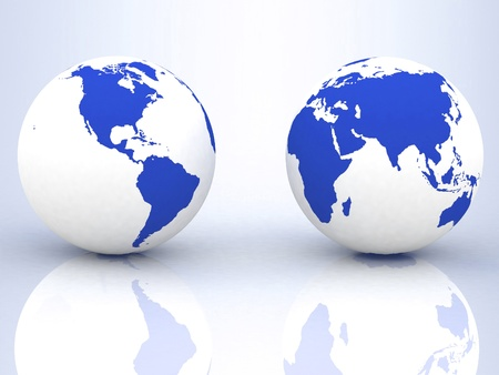 red light district: Two globes of Earth Stock Photo