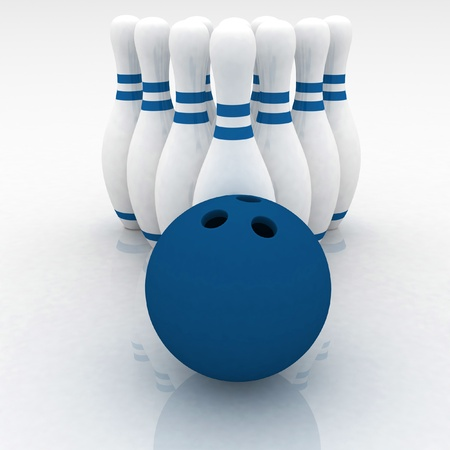 3d render of bowling on white background photo