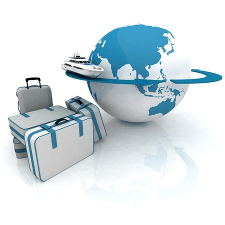wave tourist: luggage for a round-world voyage Stock Photo