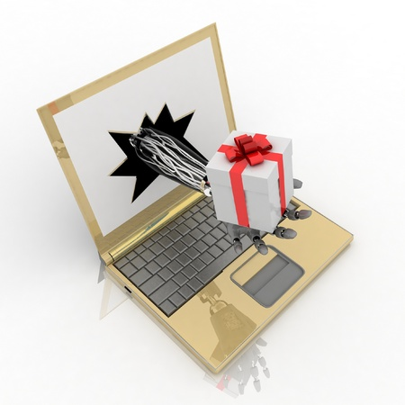 delivers: hand delivers a gift from the laptop screen Stock Photo
