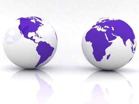 red light district: Two globes of Earth, isolated on a white