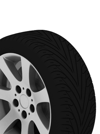 Brand new tire, 3d rendering of car wheel. Stock Photo - 11984208
