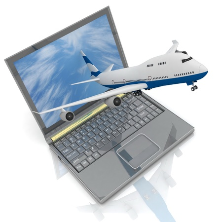 Het vliegtuig stijgt op van de laptop monitor.