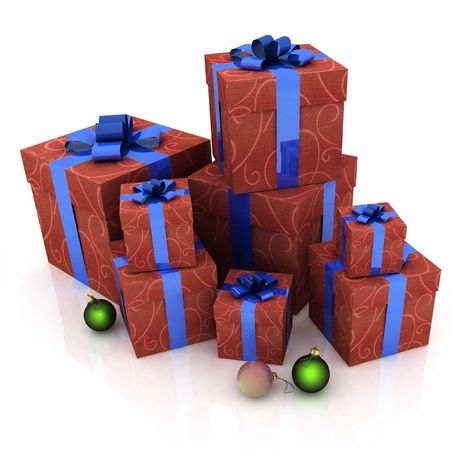 beautiful gift boxes on a white background Stock Photo - 11984510