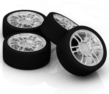 Wheels isolated on white. 3d illustration. Stock Illustration - 11984523