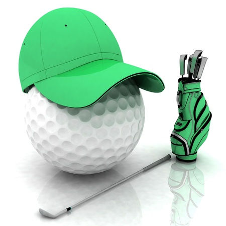 globe in a cap and golf bag photo