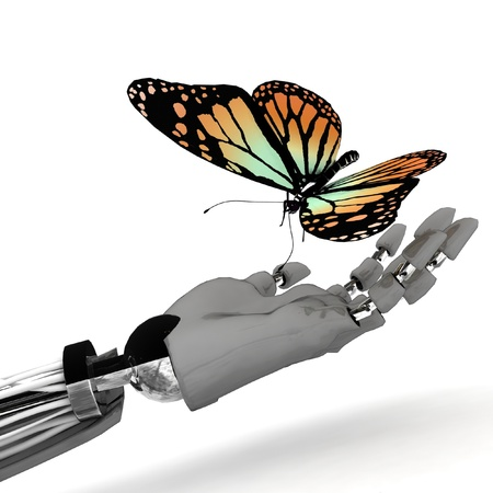 bionics: The butterfly on a hand of the robot Stock Photo