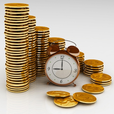 money time: Time is money concept with clock and coins