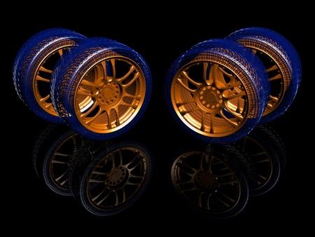 New wheels isolated on black. 3d illustration. Stock Photo