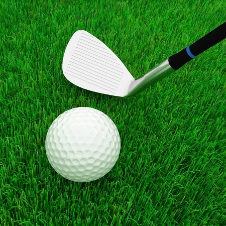 business pitch: golf club and ball isolated