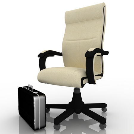 office armchair and business briefcase Stock Photo - 12050488