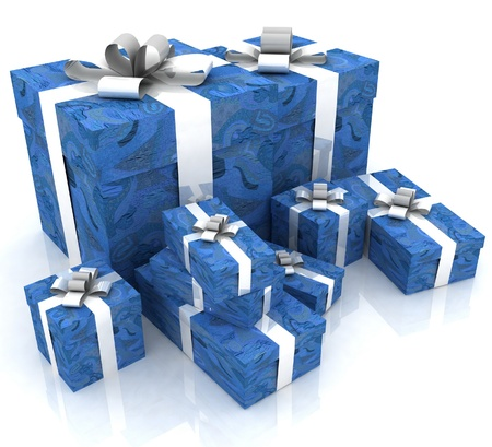 beautiful gift boxes on a white background Stock Photo - 12051211