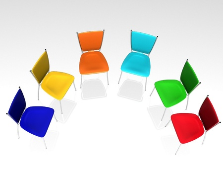 Group Of Chairs Costs A Half Round Stock Photo   12050753