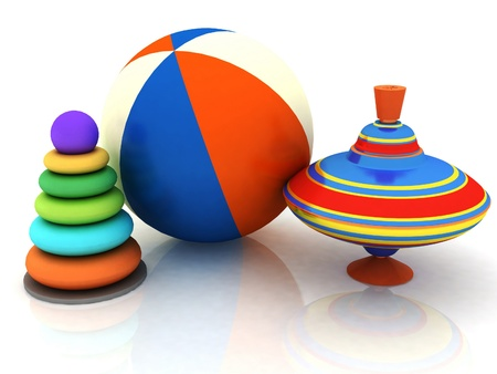 baby development: 3d childs toys pyramid, top, ball Stock Photo