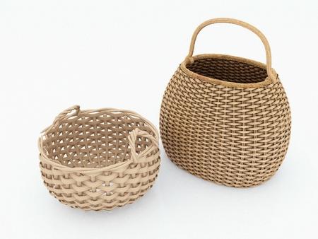 cepelia: Empty wicker basket isolated on white Stock Photo