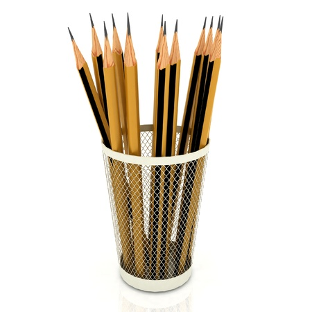 Pencils in support on white background photo
