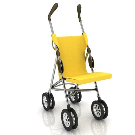 nursing mother: empty baby stroller over white Stock Photo