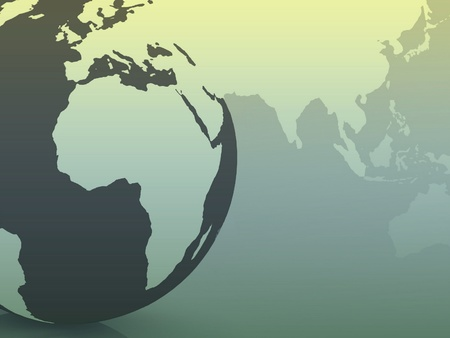 global map with a planet Earth in the background photo
