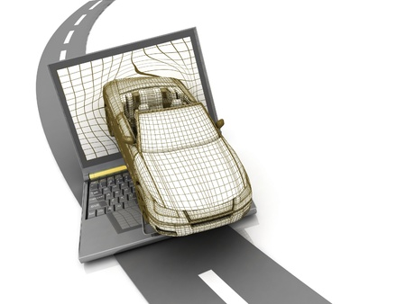 silver sports car: model car crash from the laptop on the road Stock Photo
