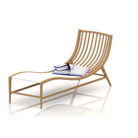 reclining: beach deck-chair