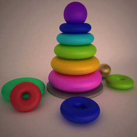 colorful wooden pyramid toy Stock Photo - 12050823