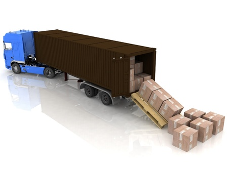 container of truck with boxes on white photo