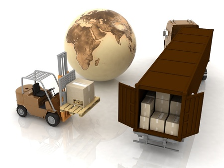 freight: 3d render. Loader before the rows of boxes.