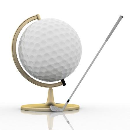 globe golf ball sign Stock Photo - 12050425