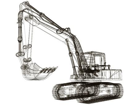 3d model excavator Stock Photo - 12051277