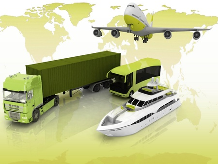 types of transport on a background map of the world Stock Photo - 12051123