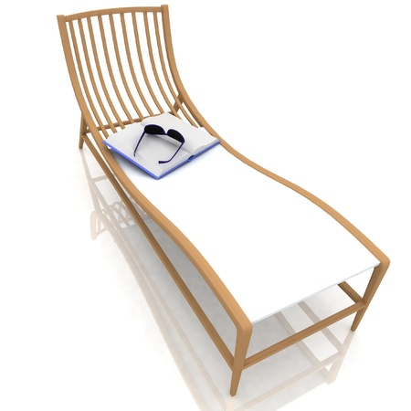 book and glasses lying on a deck-chair Stock Photo - 12050406