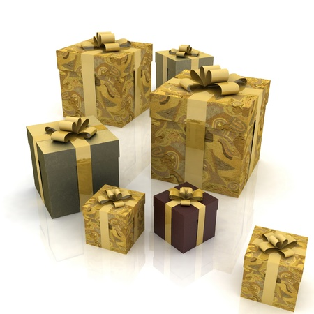 beautiful gift boxes on a white background Stock Photo - 12051001