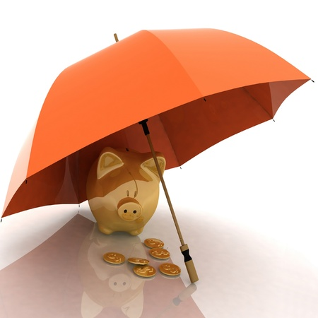 umbrella and piggy-bank. conception of defence of financial accumulations photo