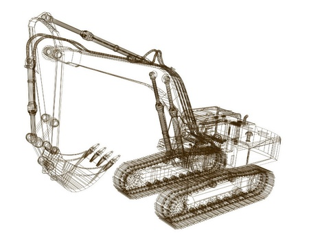 earth moving: 3d model excavator