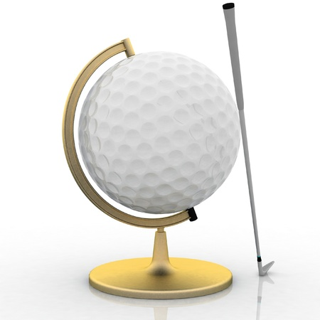 globe golf ball sign Stock Photo - 12050463